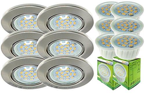 Trango 6xTG6729-062MO LED Einbaustrahler Einbauleuchten in Rund/Edelstahl-Look incl. 6x LED Modul nur 3cm Einbautiefe