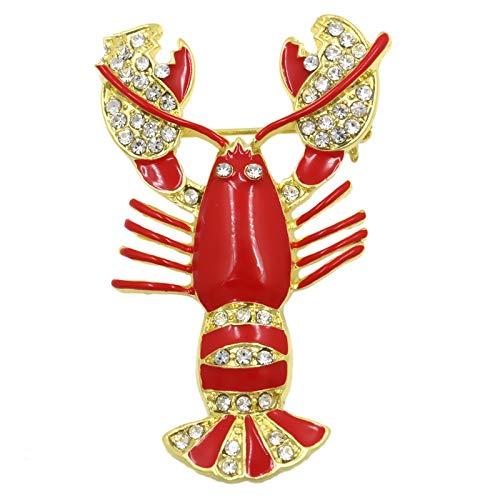SHFives MEEDU Emaille Rot Hummer Brosche Gold Tone Nette Klarem Kristall Hummer Pins Kostüm Frauen Männer Aussage - Paare Nette Kostüm