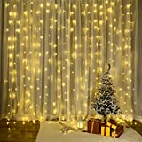 Curtain Lights 3x3m 300 LED Icicle Fairy Lights, VegaHome 8 Modes Window Curtain String Light, Christmas Wedding Party Garden Bedroom Backdrop Indoor Outdoor Decorative Lights, Low Voltage Warm White