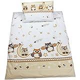 Baby Bettwäsche 2 tlg. Baumwolle Bettset Kinderbettwäsche Eulen- Bärchenmotiv Babybettwäsche 100x135 cm / 40x60 cm