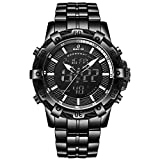 Luxury Fashion Mens Watches Stainless Steel Heavy Sport Chronograph Waterproof Date Alarm Multifunction Analog Digital Watch (Black -121)