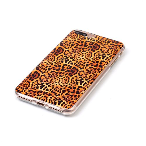 iPhone 7 Plus Hülle,iPhone 7 Plus Case, Cozy Hut Kreativ Design 3D Transparent TPU Hard Case Hülle Diamond Sequins Hülle Tasche Handyhülle Glitter Glitzer Sparkle Hart Plastik HardCase Crystal Clear R Leopard
