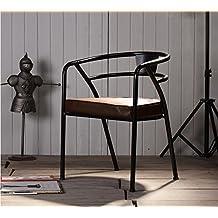 Artetdecoeu Lot De 4 Chaises YPO Noir Mtal Et Cuir Design Luxe Loft Industriel