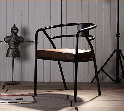 Artetdeco.eu Chaise YPO Noir Métal et Cuir Design Luxe Loft Industriel Retro Vintage
