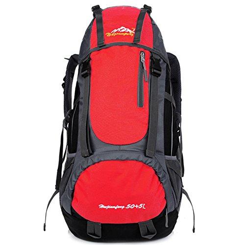 G.G.G. Gli uomini e le donne Coppia zaino trekking Daypacks, 55L grande capacità, di superficie impermeabile, adatto per lo sport-viaggi, Climbing, Arrampicata su roccia, Sci (rosso)