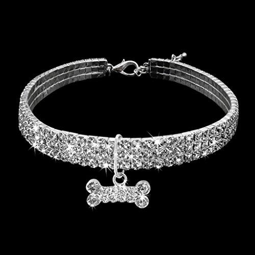 Quanjucheer Halsband für Welpen, Hunde und Katzen, glänzend, 3-reihig, mit Strasssteinen, mit Knochenanhänger