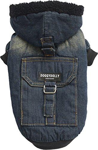 Doggy Dolly W200 Jeans Hundejacke mit Kapuze und Kunstfell, dunkelblau, Größe : XXS (Kapuze Befestigt Mit Gefüttert)