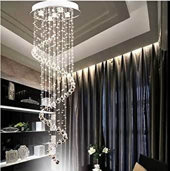 nilight lustre led spirale de gouttes d 39 eau en cristal 150. Black Bedroom Furniture Sets. Home Design Ideas