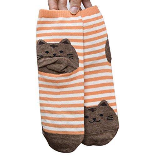 Zolimx 3D Tiere gestreifte Cartoon Socke Frauen Cat Abdrücke Socken aus Baumwolle (Orange) (Zehen-socken Gestreifte Orange)