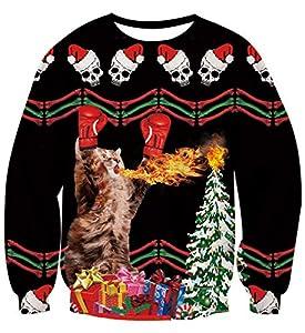AIDEAONE Unisexo Navidad Gato Sudadera