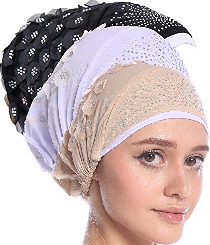Ababalaya Damen Weiches Strass Blumen Gefältelt Einfarbig Muslimische Kopftuch Krebs Cap Nachtmütze