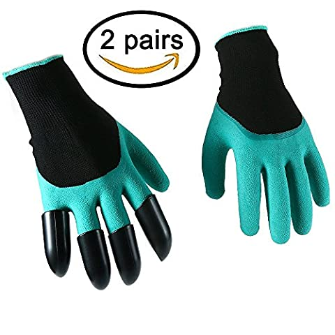 2 Paar Gartenarbeit Handschuhe Damen Herren Iglatt® Gartenhandschuhe Schutzhandschuhe Arbeitshandschuhe Wasserdichte Garten Handschuhe mit den Plastikklauen Einheitsgrösse Für den Garten