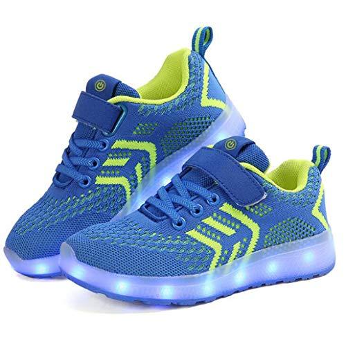 ZJEXJJ Kinder leuchten Schuhe leuchtende blinkende Turnschuhe für Jungen Mädchen (Kleinkind/kleines Kind/großes Kind) (Farbe : Blau, größe : 28)
