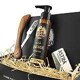 Man's Beard Rasier-Set mit Premium-Rasiergel, 75ml, Rasiermesser, Holz, französisches Produkt