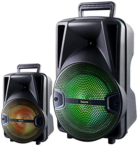 Tragbarer Bluetooth Lautsprecher | USB | UKW Radio | Micro-SD-Karte | AUX-In | Mikrofonanschluss | Karaoke | Boombox | Kabelloser Lautsprecher | Musikbox | Karaokemaschine | LED Disco Lichter (XXL)