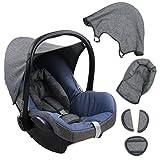 BAMBINIWELT Ersatzbezug für Maxi-Cosi CabrioFix 6-tlg. GRAU/BLAU, Bezug für Babyschale, Komplett-Set