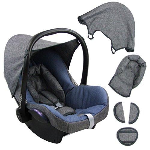 BambiniWelt Ersatzbezug für Maxi-Cosi CabrioFix 6 tlg. GRAU / BLAU *NEU* Bezug für Babyschale Sommerbezug Cabrio Fix