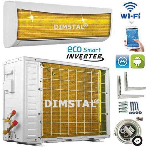 A++/A++ INVERTER Split Klimaanlage mit Wärmepumpe Klimagerät ECO Smart WiFi WLAN 12000 BTU 3,5 kW komplett Set inkl. 3m Kupferleitungen mit Heizfunktion