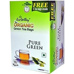 Eco Valley Organic Green Tea, Pure, 25 Tea Bags (Free 5 Tea Bags Inside)