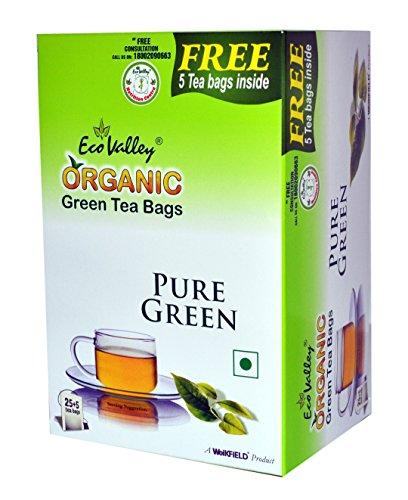 Eco Valley Organic Green Tea, Pure, 25 Tea Bags with Free 5 Tea Bags