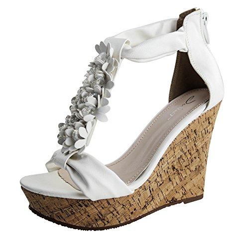 Damen Sandalen Sandaletten High Heels Keilabsatz Blumen ST702 Wedge Weiß