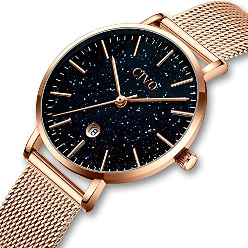 CIVO Damen Uhren Einfach Wasserdicht Edelstahl Mesh Armbanduhren für Frauen Mädchen Jugendliche Mode Kleid Luxus Elegant Schlanke Datum Kalender Analoge Quarzwerk Uhr Rose Gold