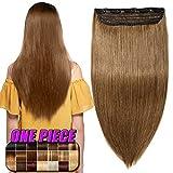 Clip in Extensions Echthaar Haarverlängerung Remy Echthaar 1 Tresse günstig Human Hair Haarverdichtung 50cm-95g(#6 Mittelbraun)