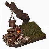 Lager-Feuer Feuerstelle Flacker-Licht mit Kessel an Naturwurzel Krippenzubehör