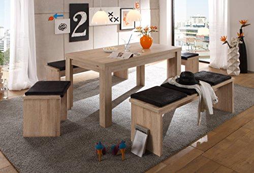 Avanti trendstore - merlox - tavolo da pranzo allungabile a 196 cm, in laminato di quercia grezza, dimensioni: lap 140x78x80 cm