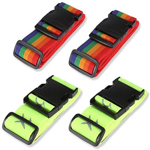 Rymall 4PCS Schließbar Gepäckgurt Einstellbare Kofferbänder Schwere Übermacht extralange Kreuz Koffergurt Kofferband (Fluoreszierend grün + Regenbogenfarbe)