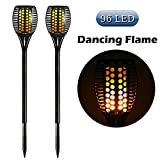 Cinoton 2er Set Solar Fackel Garten Licht Lampe 96 LED Flackerlicht Tanzen Flamme für Dekoration Festival Atmosphäre im Freien Wasserdicht