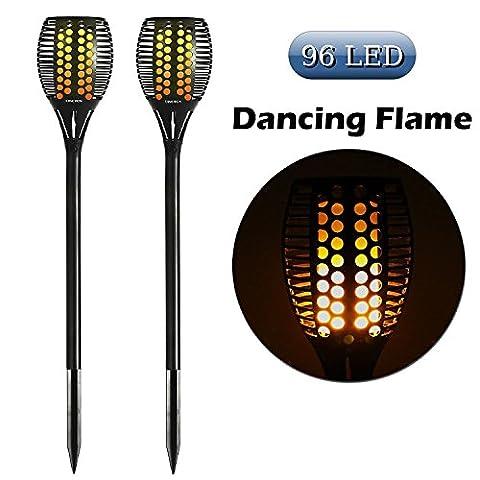 Cinoton torche solaire jardin lumière lampe 96 LED lumière vacillante danser flamme pour décoration festival atmosphère en plein air étanche (2 pack)