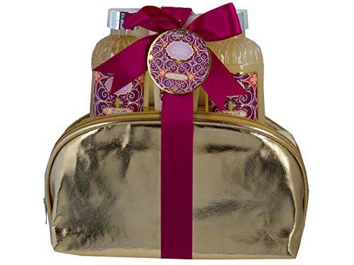 """Salsacollection""""Oriental Dream"""" Geschenkset Pflegeset goldfarbene Kulturtasche aus Kunstleder gefüllt mit 3 Kosmetikprodukten"""
