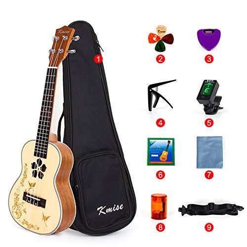 Kmise, kit con ukulele per concerti, kit per principianti, ukulele a 4 corde da 59 cm, chitarra hawaiana con foro di risonanza floreale Concert 23 inch MI2107