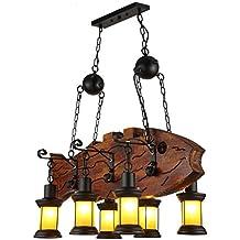 Barras de madera del café del tema del bar del tema del estilo industrial retro, lámpara de metal del salón de billar del sitio de ajedrez del sitio del juego de cristal del país americano (negro + marrón rojizo) ( Color : A )