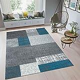 Teppich Kurzflor in Türkis Blau Grau Weiß Wohnzimmer Teppiche Modern Kachel Optik Pflegeleicht 60x110 cm