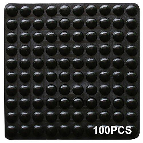 100 PCS Gummipads Selbstklebend Puffer Stoßstangen selbst Stick geruschd mpfenden Pads klein klar Soft Close Schrank & Mbel Stostangen 9mm Durchmesser x 3mm - schwarz