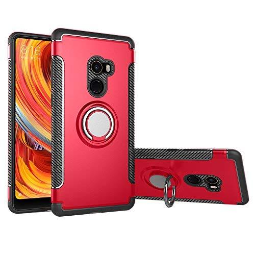 Funda Xiaomi Mi mix 2 con montaje en coche, GOGME Rugged TPU / PC Cubierta de doble capa Hybrid Carcasa y 360 ° Rotación Kickstand 2 en 1. rojo