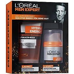 L'Oreal Men Expert Hydra Energy Geschenkset mit 24H Feuchtigkeitspflege (50 ml) und Reinigungsgel (150 ml)