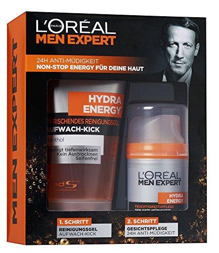 L'Oreal Men Expert Hydra Energetic Set 24H anti-fatiga además de la limpieza Hydra Energía Aufwachkick, 1er Pack (1 x 2 piezas)