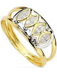Sortija oro 18k bicolor circonitas marquis primera comunión [AB0744]