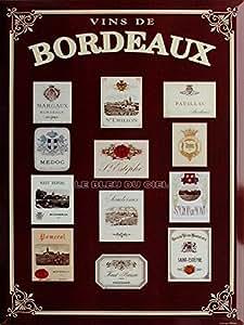 PLAQUE METAL 20X15cm VIN DE BORDEAUX FRANCE - M137