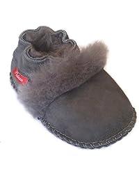 Plateau Tibet - Bottines chaussons pour bébé avec doublure en VERITABLE laine d'agneau - Fur - Gris