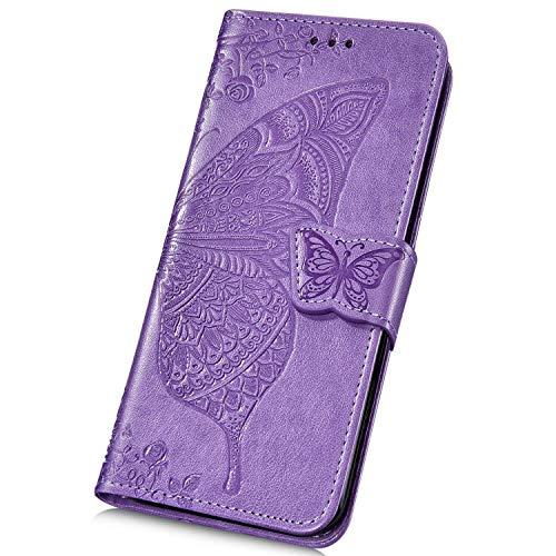Surakey Cover Compatibile con Samsung Galaxy S9 Plus Flip Libro Portafoglio Pelle Case Motivo a Farfalla con Funzione Supporto e Porte Carte Chiusura Magnetica Pieghevole Custodia,Viola Chiaro