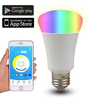 led rgb lampe bluetooth 4 0 birnen e27 dimmbare leuchtmittel gl hbirnen warmwei nachttischlampe. Black Bedroom Furniture Sets. Home Design Ideas