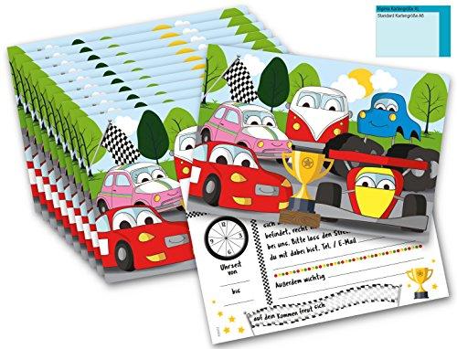 ten für Kinder - Geburtstag und Feiern Autos Rennmotiv 12 Stück (Rennen-auto-einladungen)