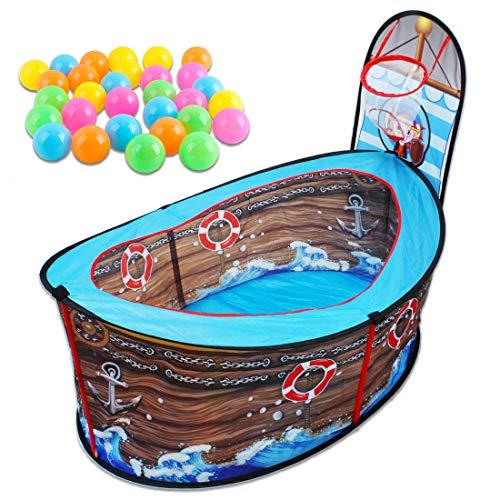 deAO Barco Pirata Tienda de Juegos Piscina de Bolas con Aro de Baloncesto Conjunto Portátil Carpa Pop-Up Area Infantil Incluye 30 Bolas de Colores