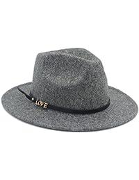 DJNLL 100% de Lana de Invierno Auturmn de los Hombres de Ancho Ancho Carta  de Amor Fedora Hat para… 7e0104ea985