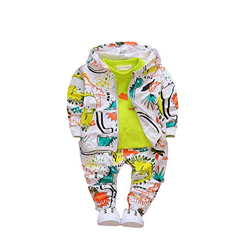 Hopscotch Boys Cotton Art Print T-Shirt with Jacket and Pant Set in Green Color for Ages 6-12 Months