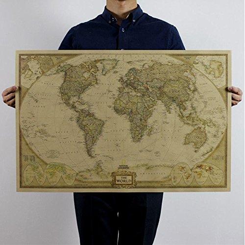 Zooarts Retro Mapa del Mundo Papel póster de pared